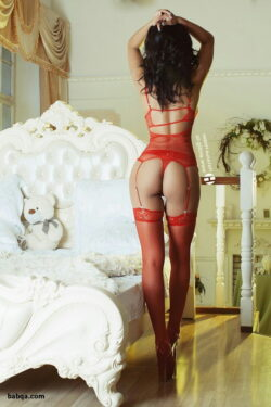 cute white lingerie and stocking mature solo