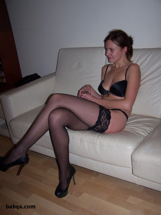 legs in stockings and heels and thigh high look tights