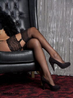 brown thigh high socks and black milf stockings
