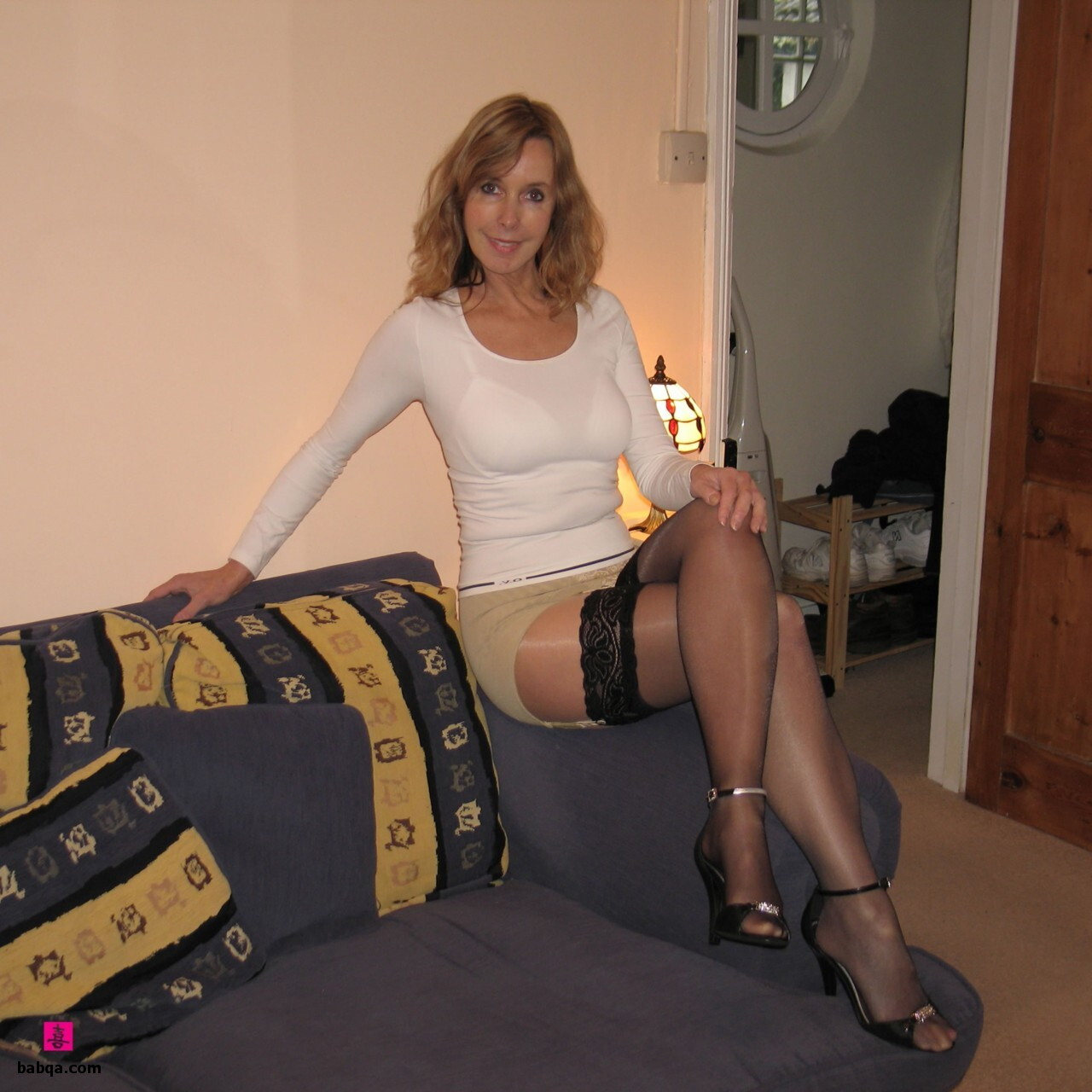 lingerie sexy naked and nylon stocking foot