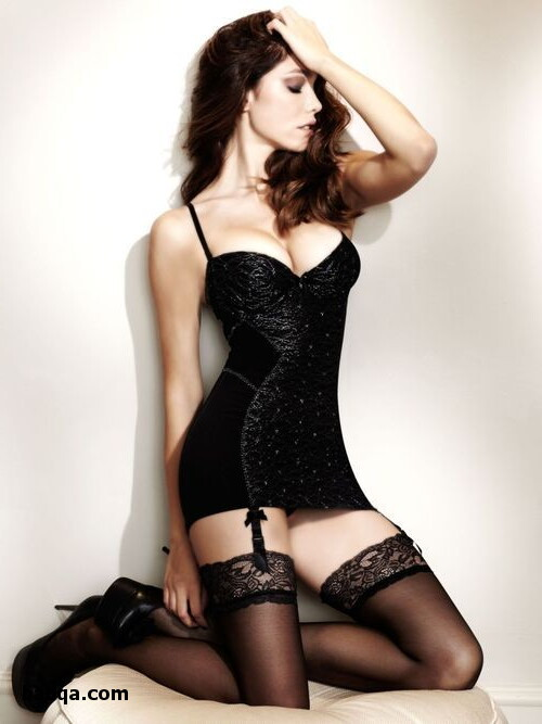 beautiful women in sheer lingerie and blue thigh highs