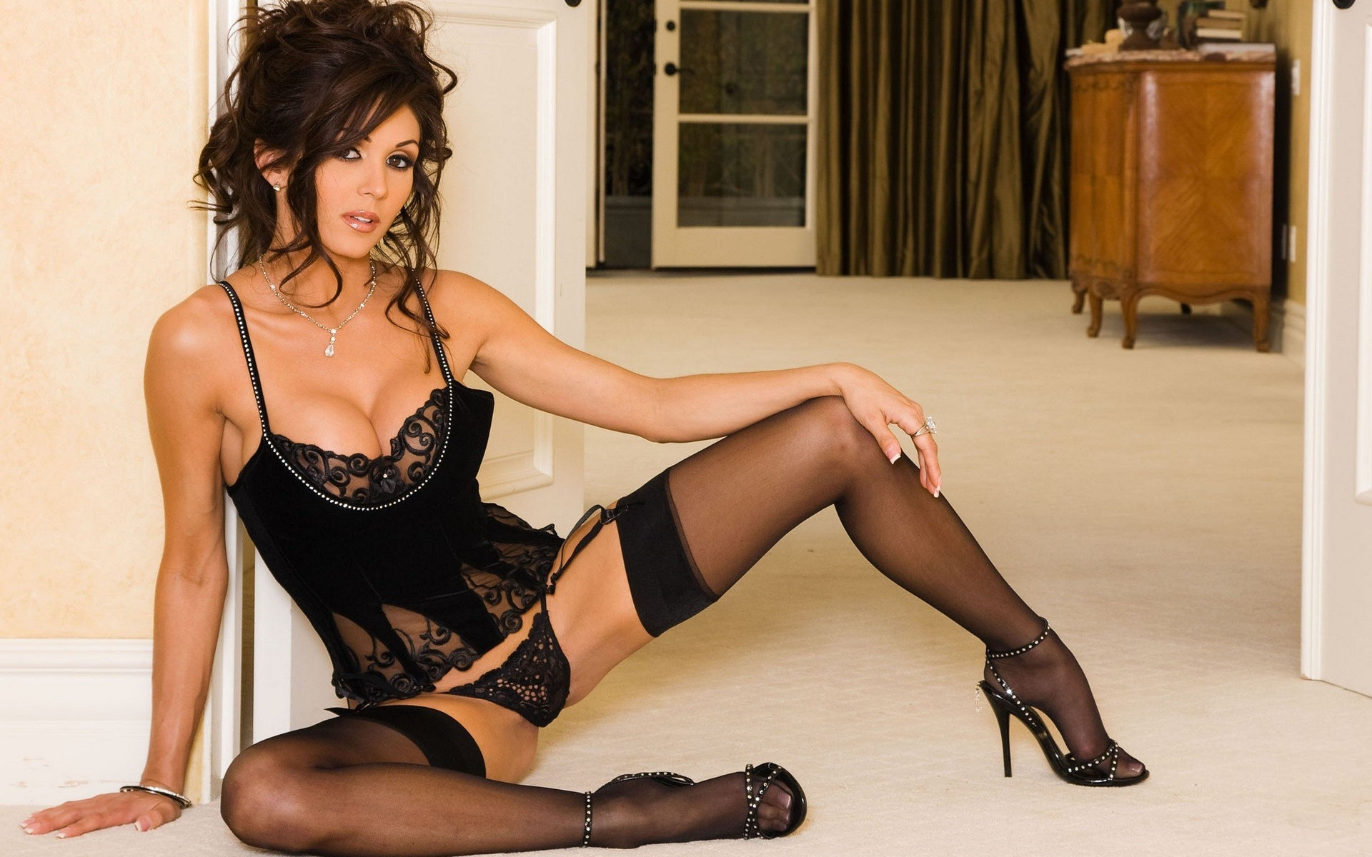 black stockings high heels and wife wants me to wear a bra